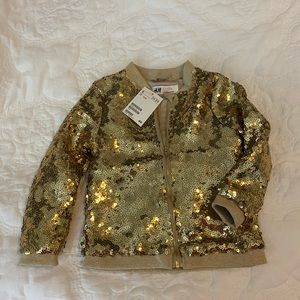 NWT H&M Sequin Gold Toddler Girl Jacket